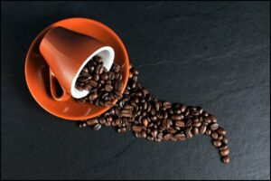 Coffee-cup-saucer-coffee-beans