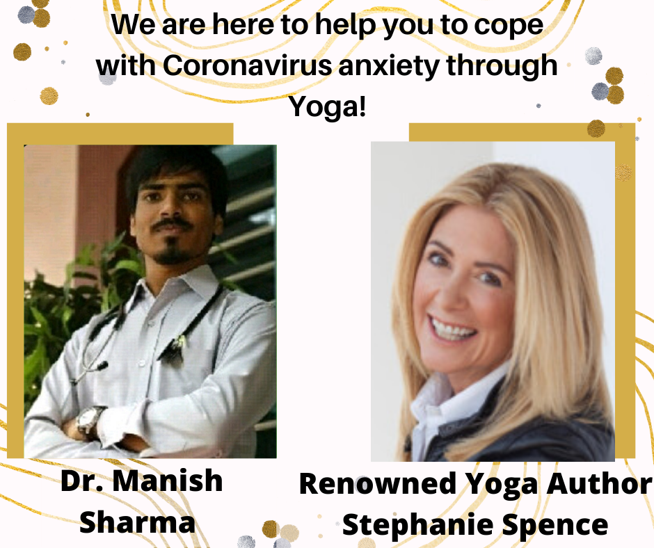 Image featuring a doctor and a yoga expert to relieve corona virus anxiety
