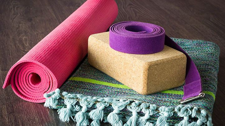 All-yoga-props-kept-in-one-place