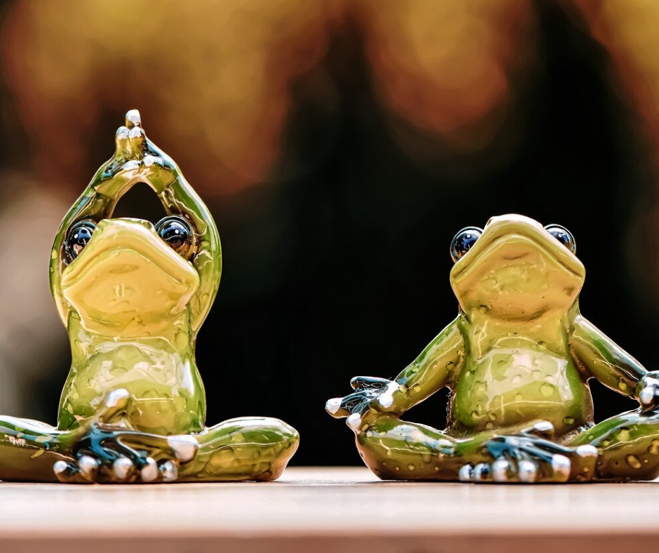 Frog miniatures in yoga asanas