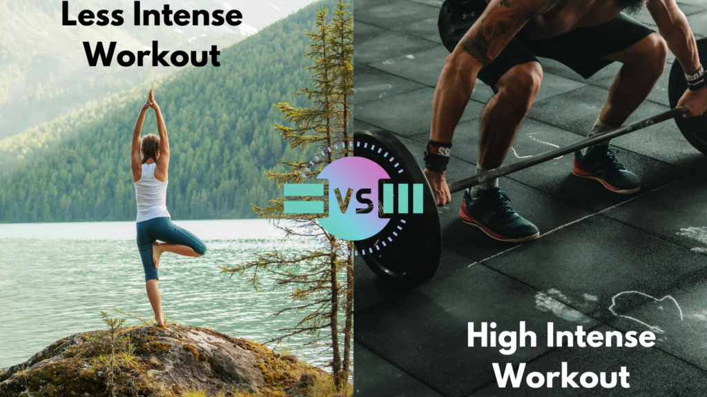 Yoga-a-less-intense-workout-vs-gym-high-intense-workout
