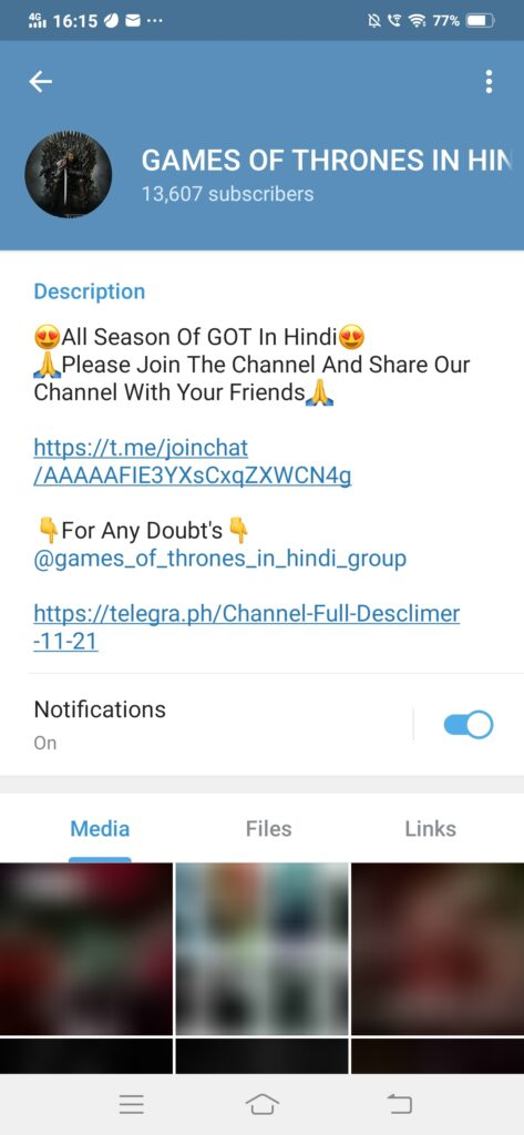 Screenshot Of Game Of thrones Channels on Telegram to Download for Free